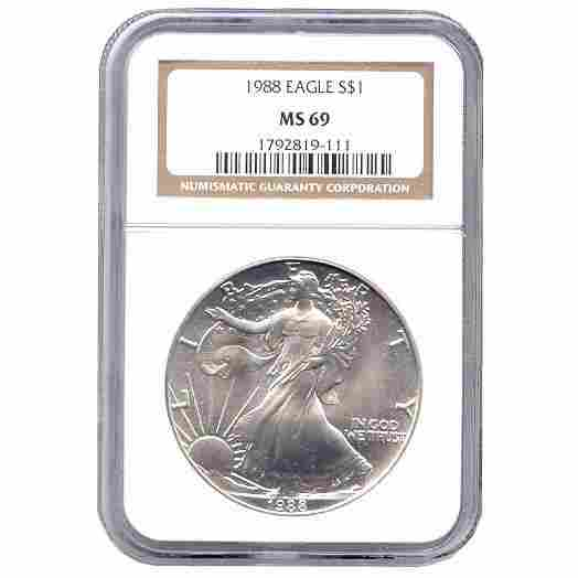 Certified Uncirculated Silver Eagle 1988 MS69