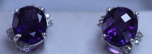 21.85 CTW AMETHYS AND DIAMOND EARRINGS .925 STERLING SI