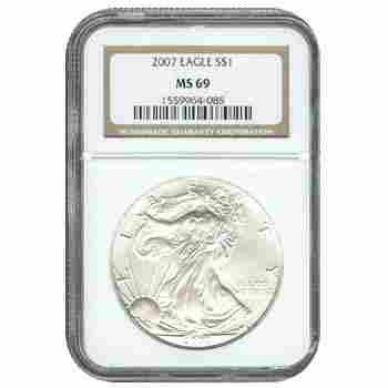 254530983: Certified Uncirculated Silver Eagle 2007 MS6
