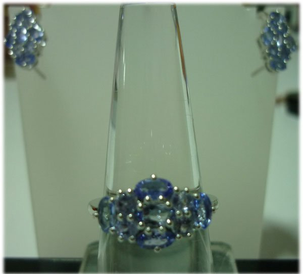 38.50 CTW TANZANITE Earring and Ring set .925 STERLING