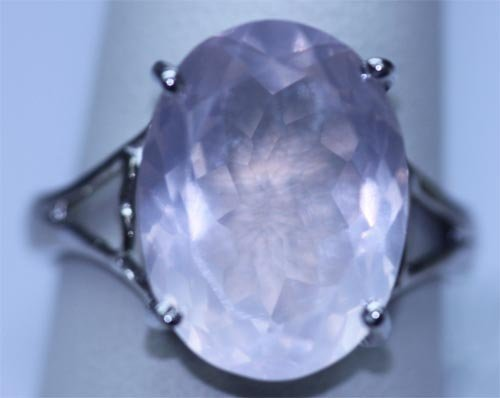 24.70 CTW ROSE QUARTZ RING .925 STERLING SILVER