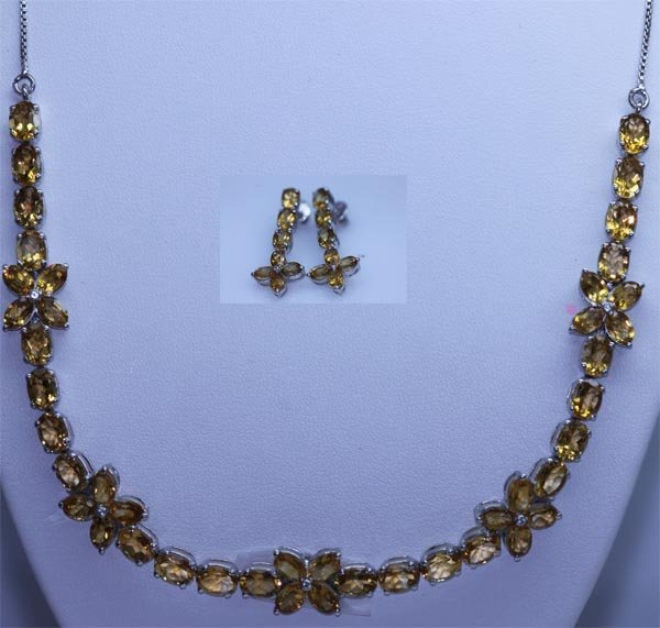 151.65 CTW CITRINE NECKLACE AND EARRING SET .925 STERLI