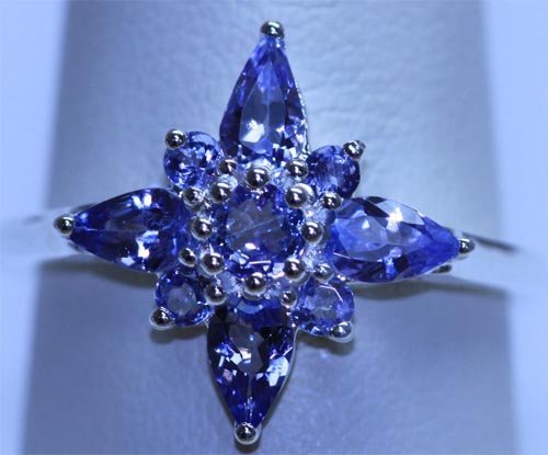 11.60 CTW TANZANITE RING .925 STERLING SILVER