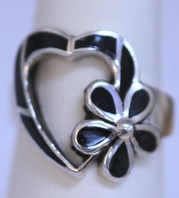 27.05 CTW BLACK STAR RING .925 STERLING SILVER
