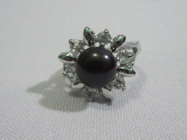 SUNNY BLACK PEARL AND CZ RING; AUTHENTIC PHILIPPINE PEA