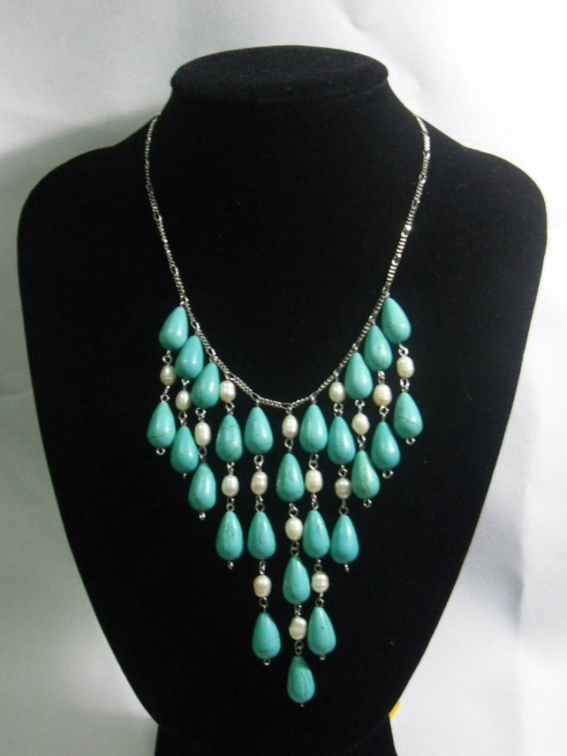 275CTW CHANDELIER WHITE PEARL AND BLUE TURQUOISE