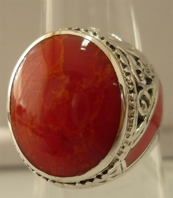 35.80 ctw Coral Ring .925 Sterling Silver