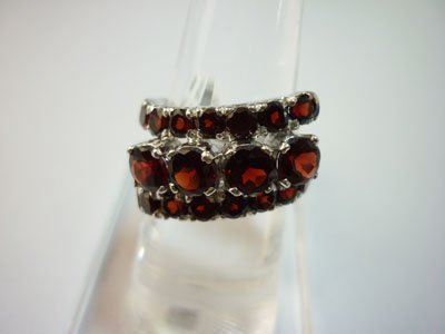 NATURAL 35.00 CTW GARNET RING .925 STERLING SILVER