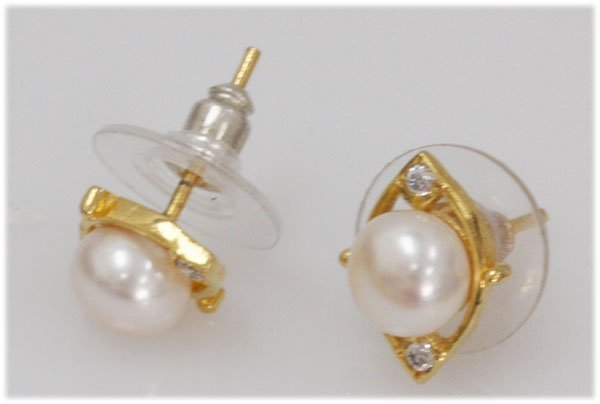 NATURAL 12.86 CTW PEARL EARRING .925 STERLING SILVER WI