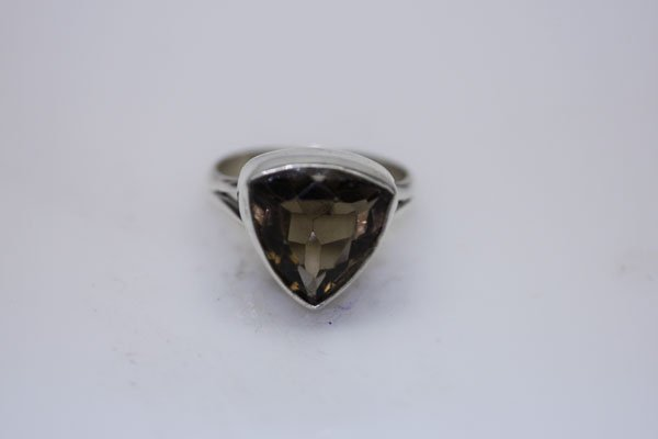 NATURAL 25.40 CTW SMOKY TOPAZ TRILLION CUT RING .925 ST