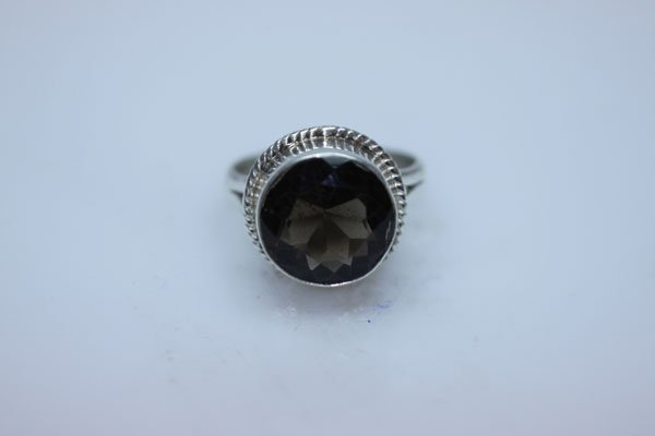 NATURAL 26.75 CTW SMOKY TOPAZ ROUND RING .925 STERLING