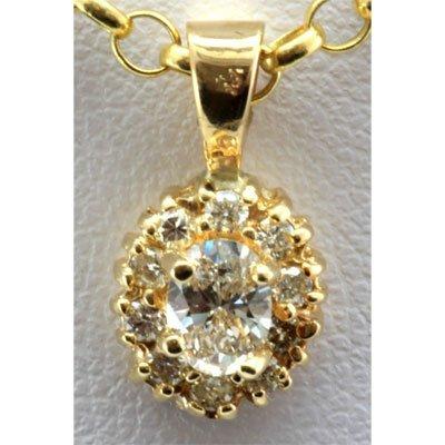 Genuine 0.35 ctw Diamond Oval Flower Pendant 14k Y Gold