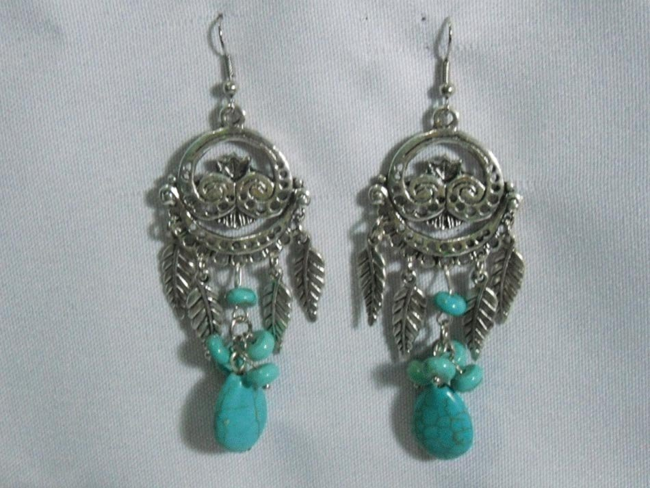 LEAFY BLUE TURQUOISE DANGLING EARRINGS STONE BLUE TURQU