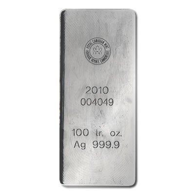 Silver Bars: Royal Canadian Mint 100 oz .9999 fine