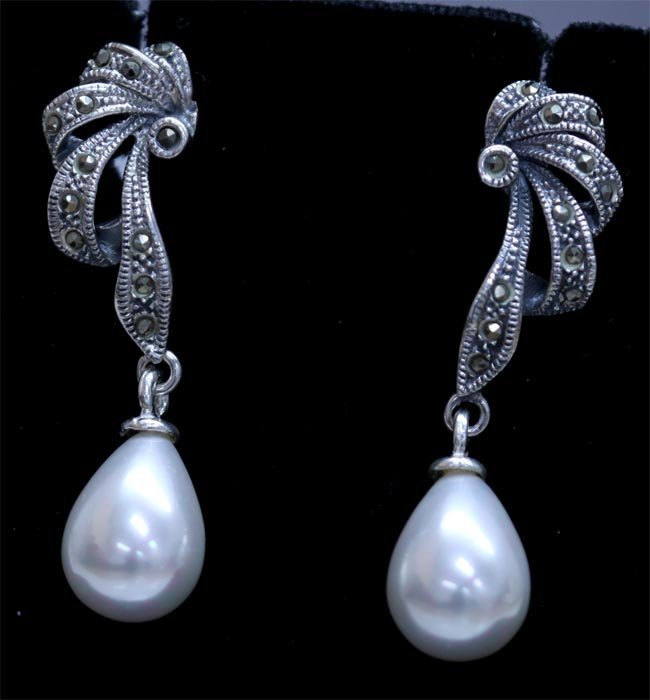 34.05 CTW PEARL ANTIQUE LOOKING JEWELRY .925 STERLING S