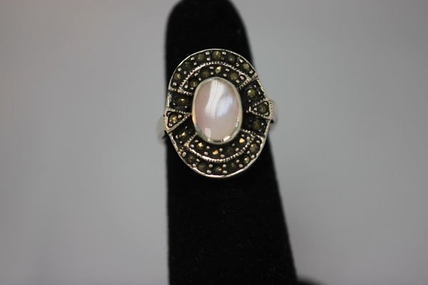 23.00 CTW ANTIQUE LOOKING OPAL PEARL RING .925 STERLING
