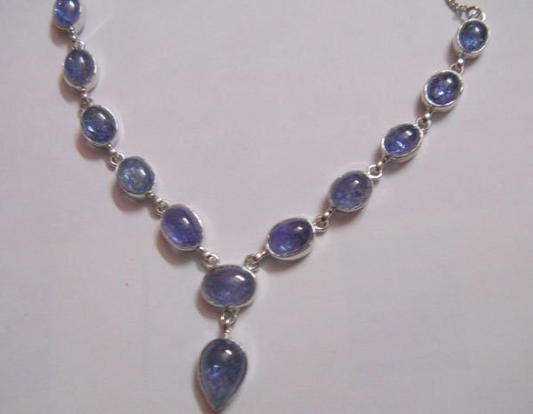 117.15 CTW TANZANITE NECKLACE .925 STERLING SILVER