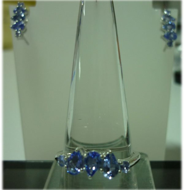 38.50 CTWTANZANTE Earring and Ring set .925 STERLING SI