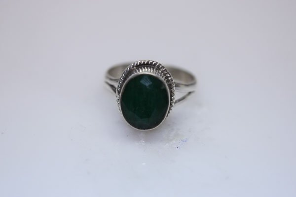 NATURAL 23.80 CTW EMERALD OVAL RING .925 STERLING SILVE