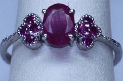 7.25 CTW RUBY RING .925 STERLING SILVER