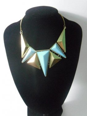 275CTW BLUE PYRAMID BRASS NECKLACE;18INCH