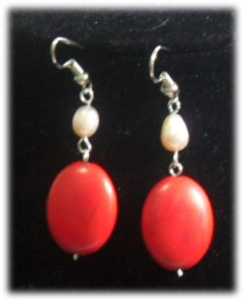WHITE PEARL AND OVAL RED TURQUOISE DANGLING