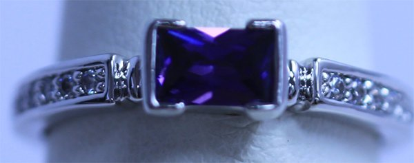 PURPLE AND CZ RING