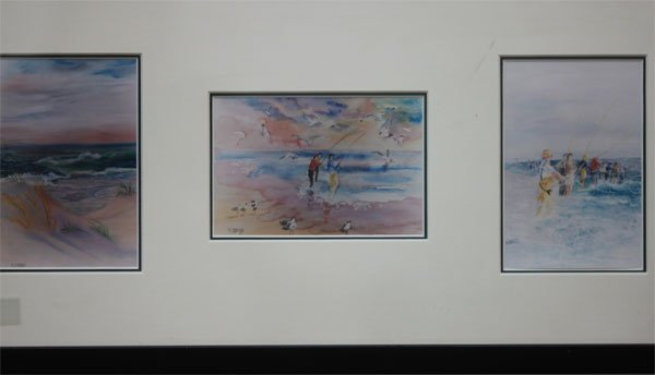 Three sea side water paintings hand signed by M Briggs.