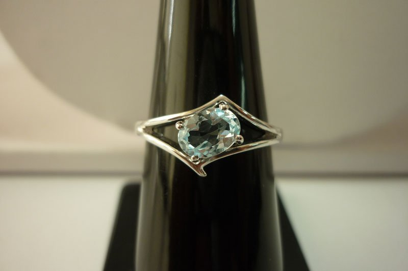 10.90 ctw Blue Topaz Ring .925 Sterling Silver