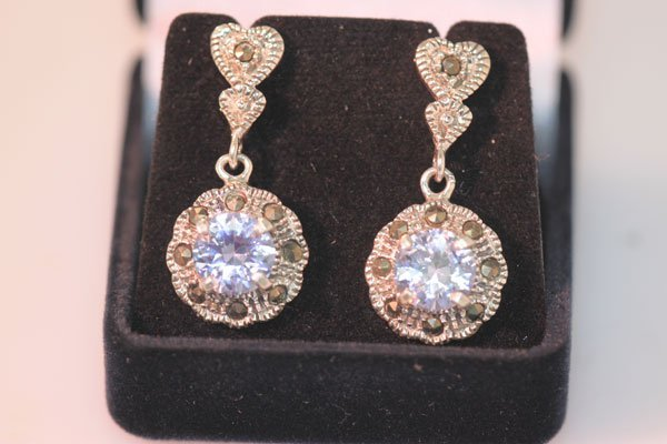 50.00 CTW ANTIQUE LOOKING OPAL DANGLING EARRINGS .925 S