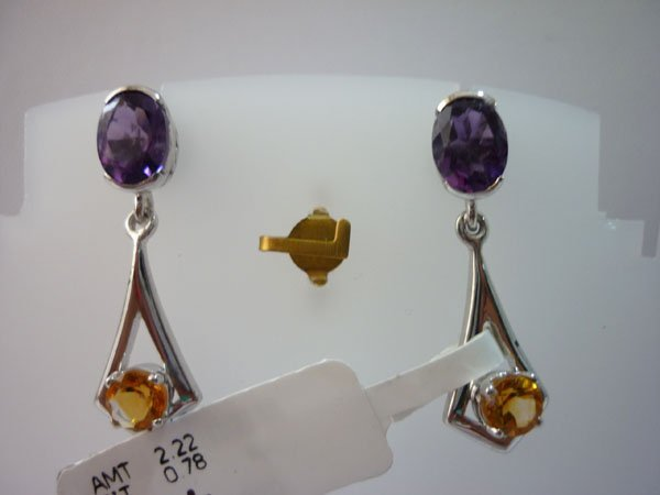 26.25 CTW AMETHYST AND CITRINE EARRING .925 STERLING SI