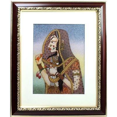 "Indian Beauty  3 Art Craft Gemstone Painting Dim 12x10"""
