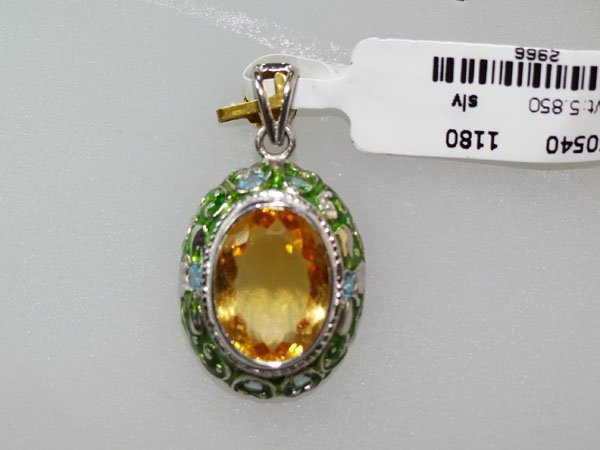 29.25 CTW CITRINE AND BLUE TOPAZ PENDANT .925 STERLING