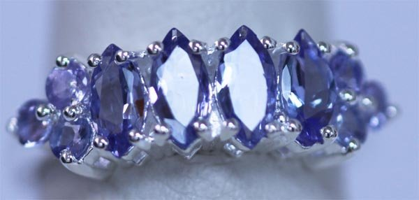 10.90 CTW TANZANITE RING .925 STERLING SILVER