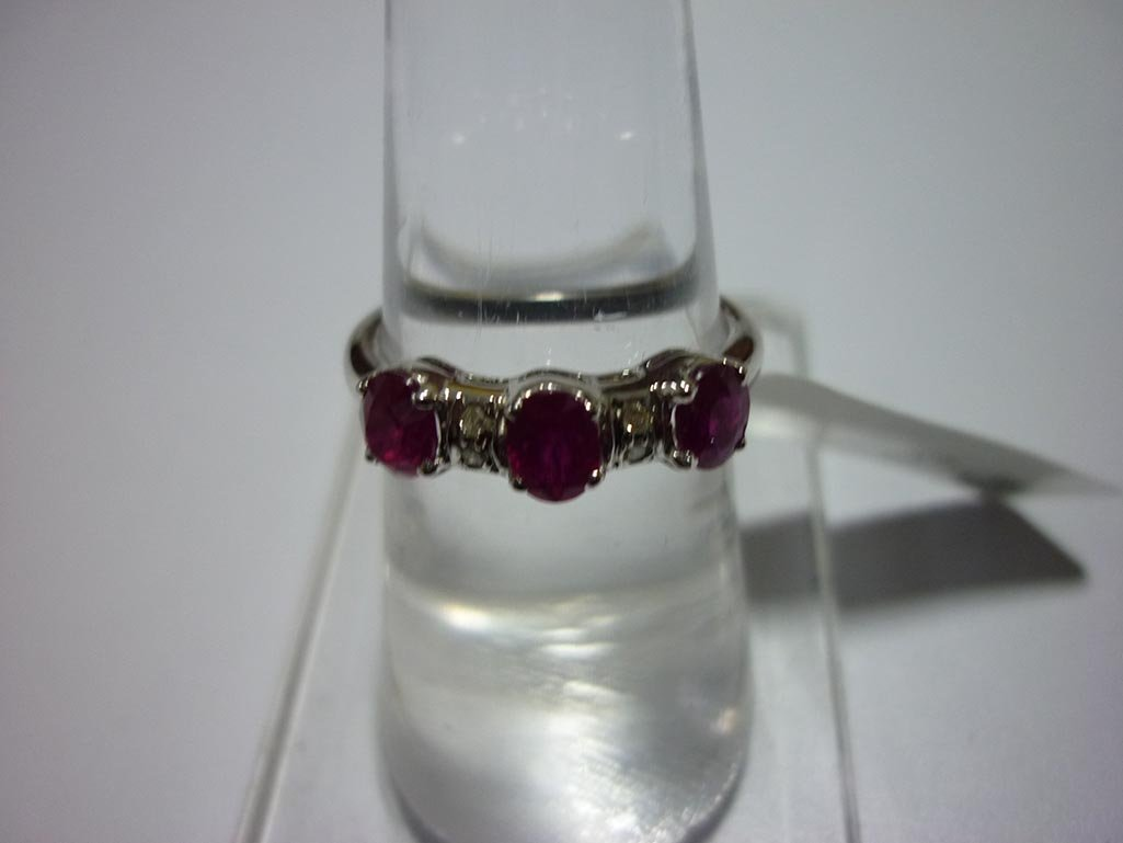 11.75 CTW DIAMOND AND RUBY RING .925 STERLING SILVER