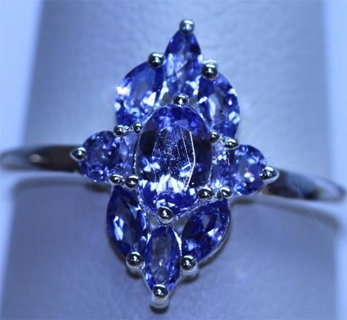 11.70 CTW TANZANITE RING .925 STERLING SILVER