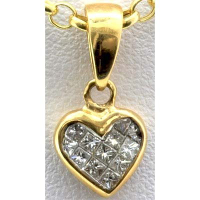 Genuine 0.22 ctw Diamond Invisible Heart Pendant 18k