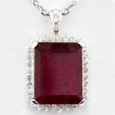 Genuine 12.78ctw Rubellite Diamond Pendant 14k W/Y Gold