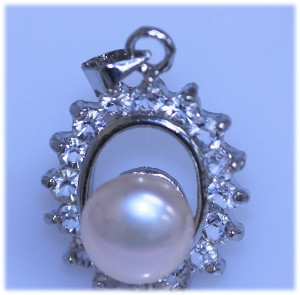 17.85 CTW PEACH PEARL AND CZ PENDANT