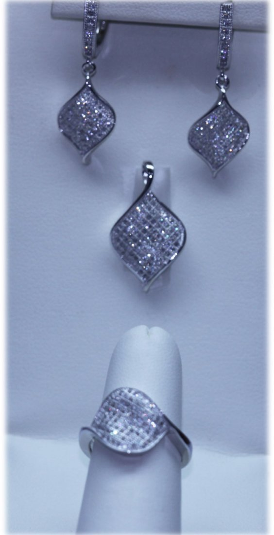 53.90 CTW MICRO PAVE CZ EARRING, RING,PENDANT SET .925