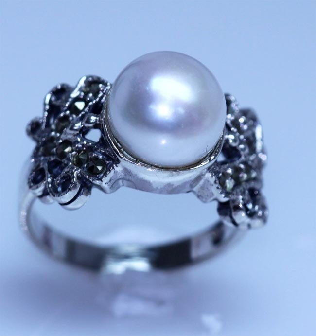 24.25 CTW PEARL ANTIQUE LOOKING JEWELRY .925 STERLING S