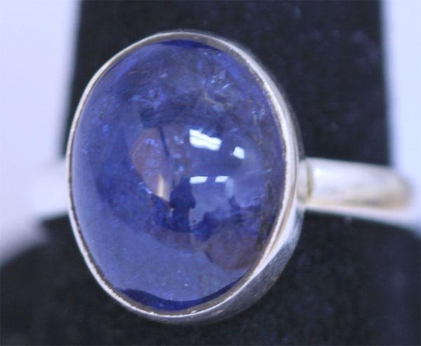 24.40 CTW TANZANITE RING .925 STERLING SILVER
