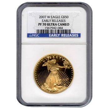 Certified Proof American Gold Eagle $50  PF70 NGC Dates