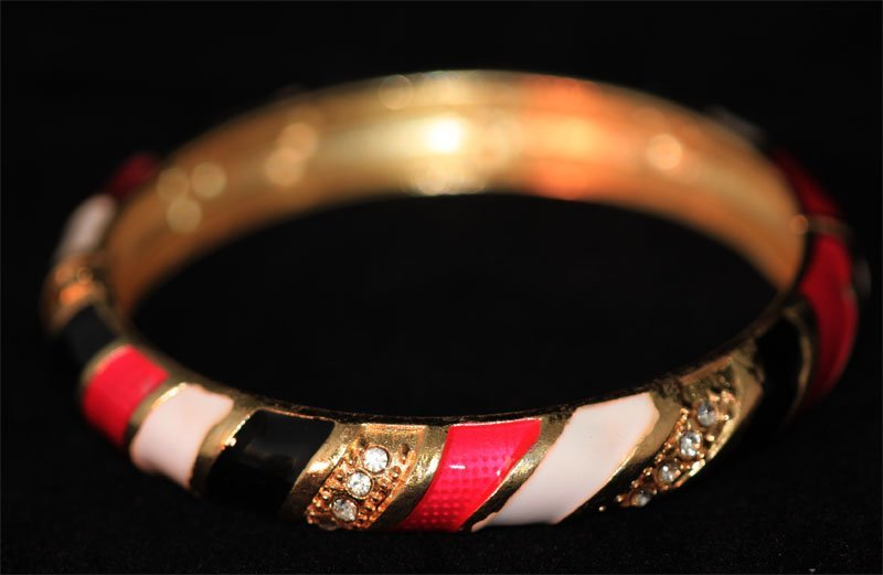 MULTICOLOR AND CZ BRASS BANGLE