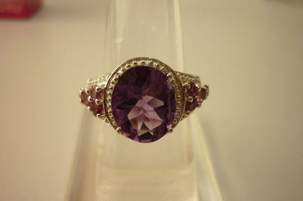 28.00 ctw Amethyst and Tourmiline Cut fine ring .925 ST
