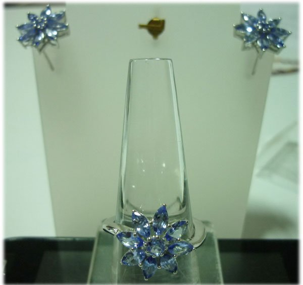 38.5 CTW TANZANITE Earring and Ring set .925 STERLING S