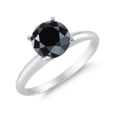 Genuine 3.0 ctw Black Diamond Solitaire Ring 14kt
