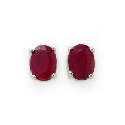 Genuine 3.10 ctw Ruby Stud Earrings 14kt Gold-White
