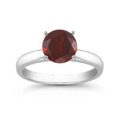 Genuine 1.40 ctw Garnet Solitaire Ring 14kt Gold-White