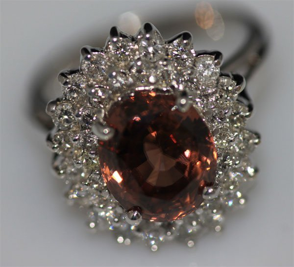 14K GOLD ROUND ZIRCON AND DIAMOND RING
